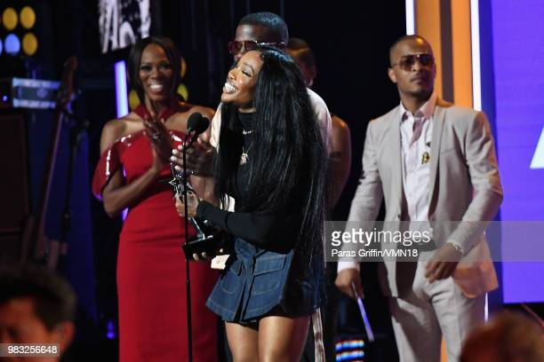 onstage at the 2018 BET Awards at Microsoft Theater on June 24 2018 in Los Angeles California