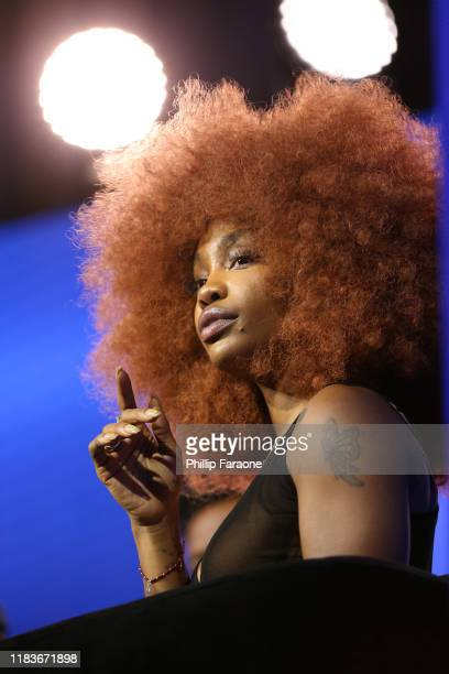 SZA onstage at the REVOLT X ATT 3Day Summit In Los Angeles Day 2 at Magic Box on October 26 2019 in Los Angeles California