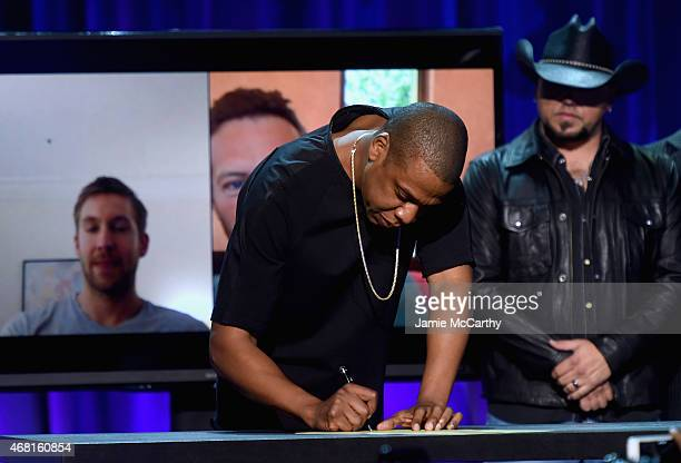 Onstage at the Tidal launch event #TIDALforALL at Skylight at Moynihan Station on March 30, 2015 in New York City.