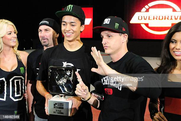 Ontario 2012 Street League winner Nyjah Huston and Rob Dyrdek at Rob Dyrdek's Street League Skateboarding Event at Citizens Business Bank Arena on...