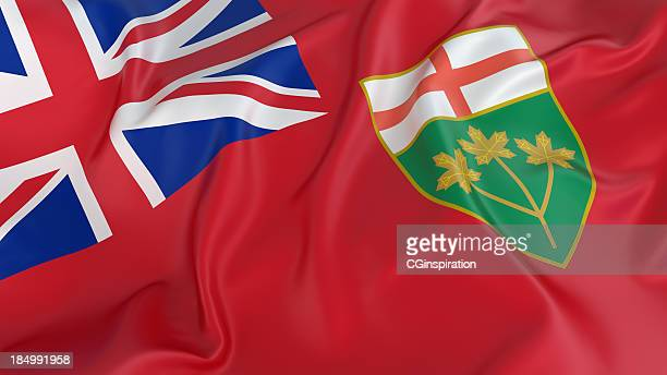 ontario flag - ontario canada stock pictures, royalty-free photos & images