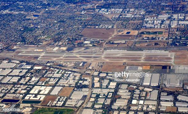 Ontario International Airport as seen from a passenger plane approaching Los Angeles International Airport.