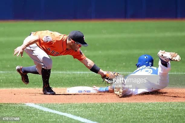 TORONTO Ontario JUNE 6 Toronto Blue Jays shortstop Jose Reyes sneaks in under the tag from Jonathan Villar as the Toronto Blue Jays beat the Houston...