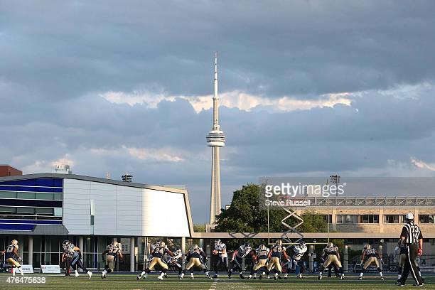 TORONTO Ontario JUNE 9 The Toronto Argonauts play the Winnipeg Blue Bombers as Varsity Stadium in Toronto June 9 2015