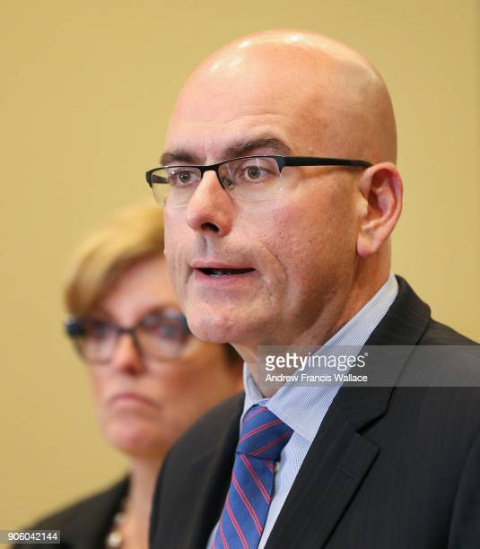 TORONTO ON SEPTEMBER 20 Ontario Minister of Transportation Steven Del Duca speaks to media while Eleanor McMahon Min of Tourism Culture and Sport...