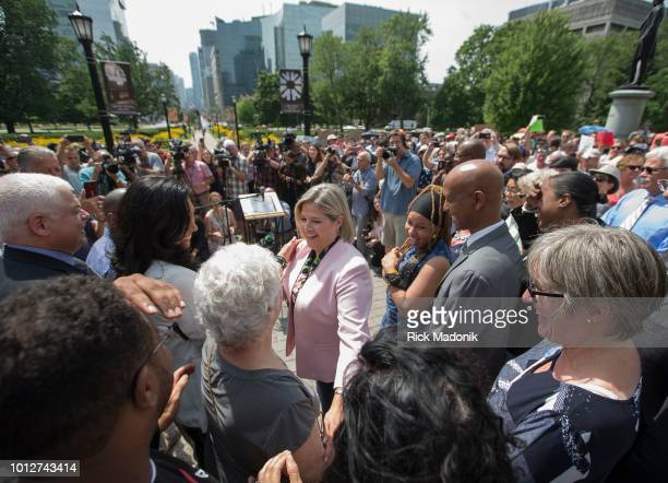 Ontario NDP Leader Andrea Horwath on the south lawn at the Legislature building for a demonstration against the new government's Bill 5 The Ontario...