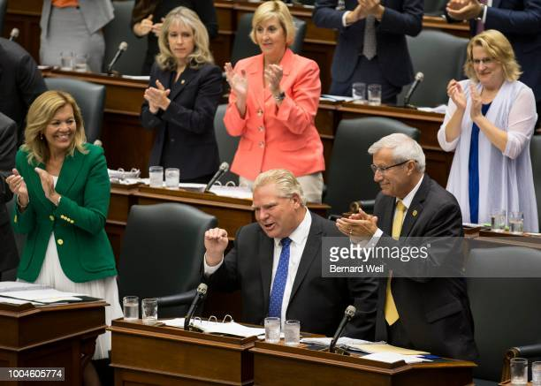 Ontario Premier Doug Ford gestures to NDP Leader and Leader of the Official Opposition Andrea Horwath during question period in Queen's Park Former...
