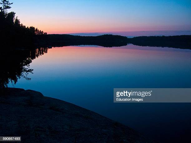 Ontario Quetico Park Lake Kawnipi wilderness Pink Sunset