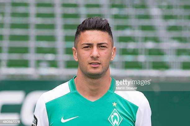 Onur Capin poses during the official team presentation of Werder Bremen II at Weserstadium on July 10 2015 in Bremen Germany