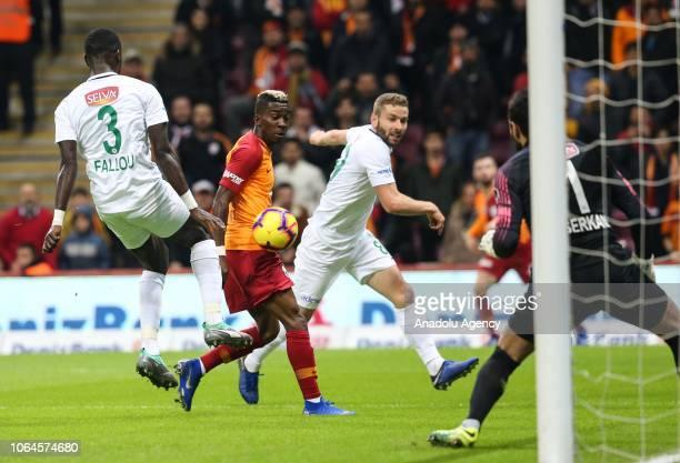 Onyekuru of Galatasaray in action against Fallou Diagne of Atiker Konyaspor during a Turkish Super Lig soccer match between Galatasaray and Atiker...