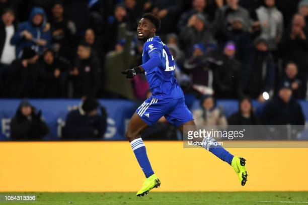 Onyinye Wilfred Ndidi of Leicester City celebrates after scoring his team's first goal during the Premier League match between Leicester City and...