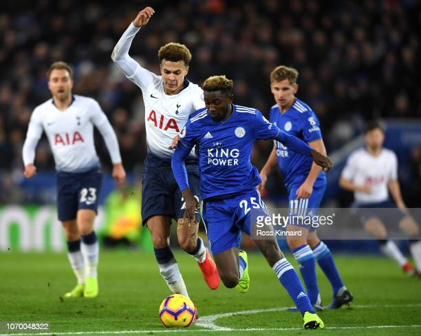 Onyinye Wilfred Ndidi of Leicester City is challenged by Dele Alli of Tottenham Hotspur during the Premier League match between Leicester City and...