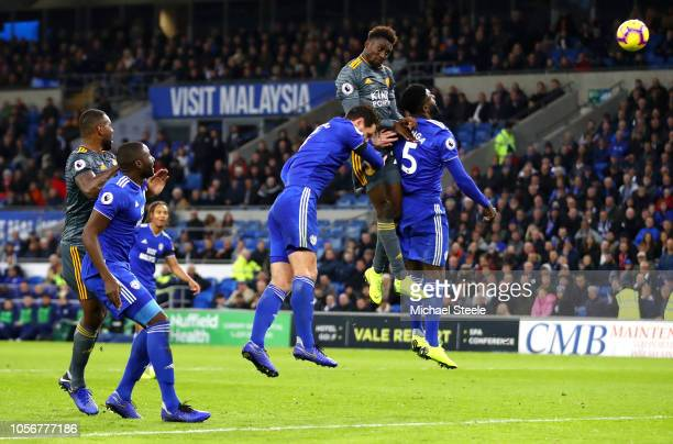 Onyinye Wilfred Ndidi of Leicester City wins a header during the Premier League match between Cardiff City and Leicester City at Cardiff City Stadium...