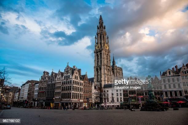 Onze-Lieve-Vroukathedral spire seen from the Grote Markt, Antwerp, Belgium.