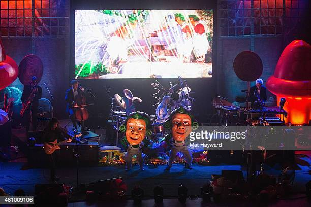 Oompa Loompas dance on stage with Primus and the Chocolate Factory with the Fungi Ensemble performs on stage at Paramount Theatre on January 3 2015...