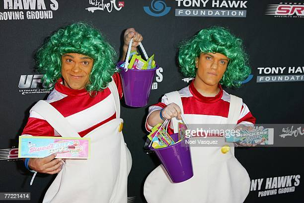Oompa Loompas hand out free candy for Tony Hawk's Proving Ground Stand Up For Skateparks event at a private residence on October 7 2007 in Los...