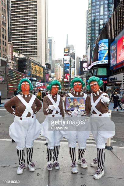 Oompa Loompas hand out Golden Tickets for the 40th Anniversary of Willy Wonka The Chocolate Factory event on October 18 2011 in New York City