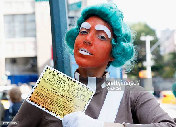Oompa Loompas hands out Golden Tickets for the 40th Anniversary of Willy Wonka The Chocolate Factory event on October 18 2011 in New York City