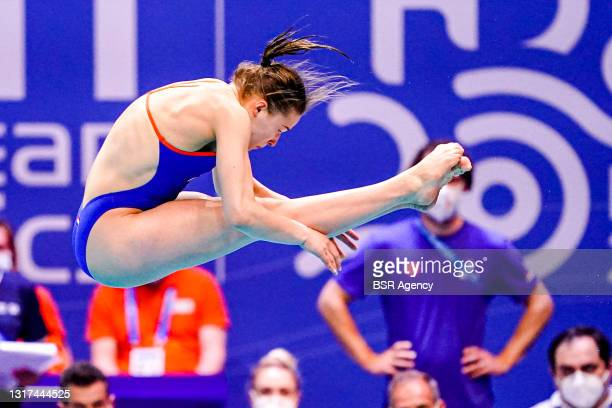 Oona Abbema of the Netherlands competing at the Team Event Preliminary during the LEN European Aquatics Championships 1m Springboard Preliminary at...