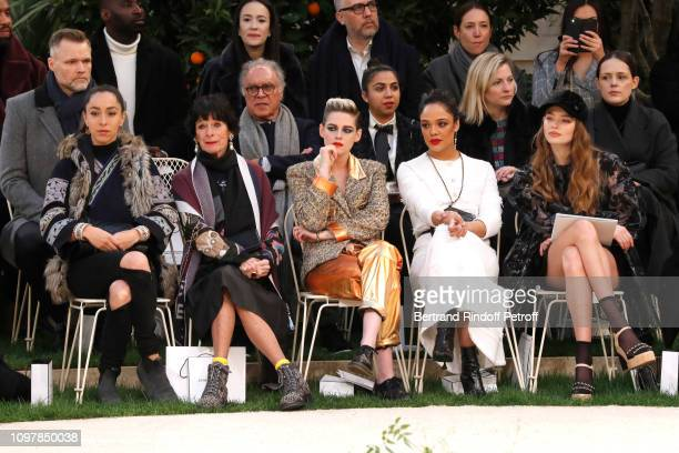 Oona Chaplin Geraldine Chaplin Kristen Stewart Tessa Thompson and Kristine Froseth attend the Chanel Haute Couture Spring Summer 2019 show as part of...