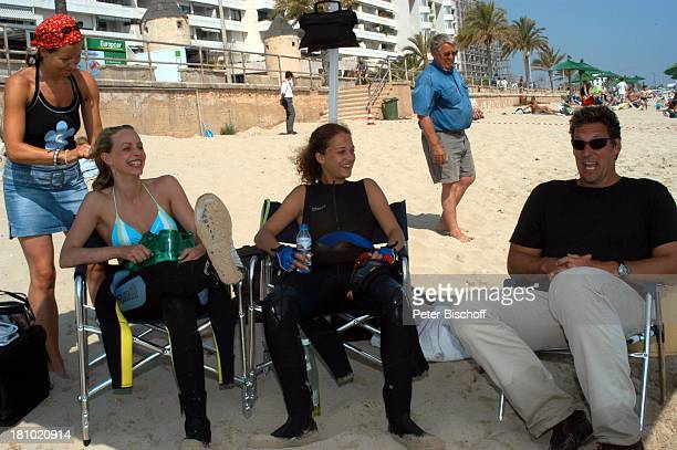 "Oona Devi Liebich, Simone Hanselmann, Ralf Moeller, , Mallorca/Balearen/Spanien, 2.6.2003, RTL-Film: ""Megalodon - Hai-Alarm auf Mallorca"", Sportler,..."