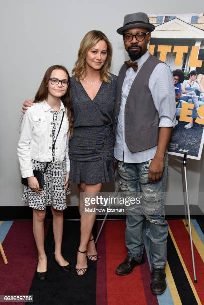 Oona Laurence Christine Taylor and Nelsan Ellis attend the 'Little Boxes' New York Screening at Village East Cinema on April 14 2017 in New York City