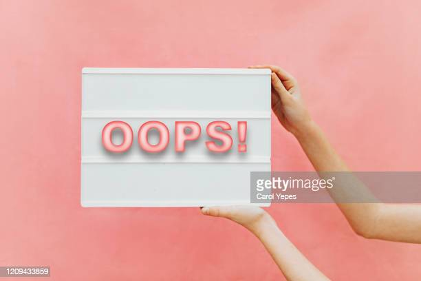oops message in lightbox - mistake stock pictures, royalty-free photos & images