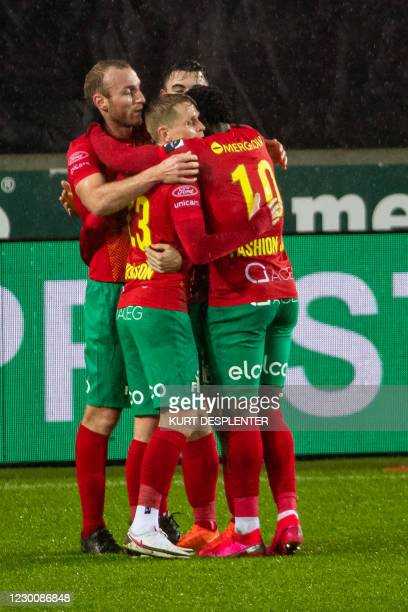 Oostende's Kevin Vandendriessche celebrates after scoring during a soccer match between Cercle Brugge and KV Oostende, Saturday 12 December 2020 in...