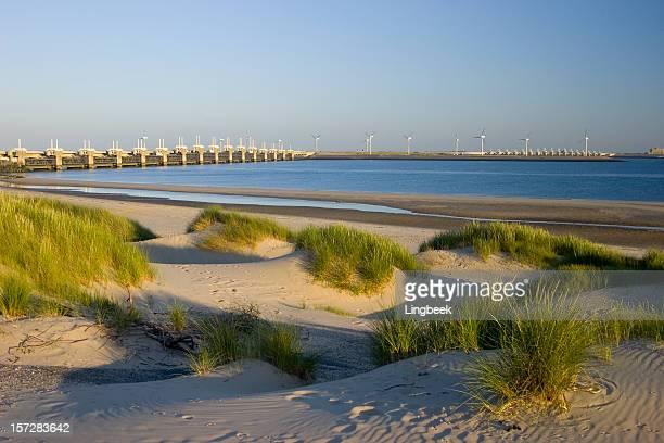 oosterscheldedam dunes at night - broek stockfoto's en -beelden