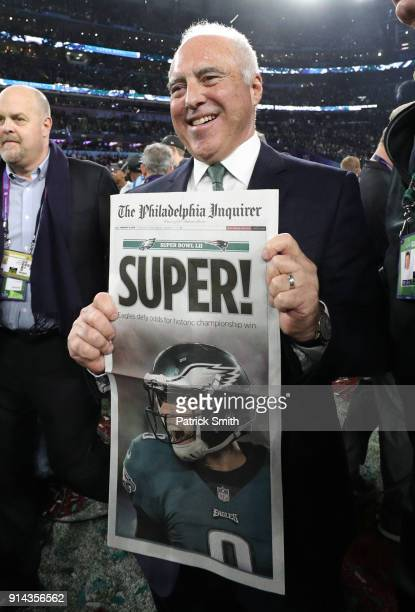 Oowner Jeffery Lurie celebrates after defeating the New England Patriots 4133 in Super Bowl LII at US Bank Stadium on February 4 2018 in Minneapolis...
