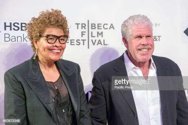 Opal Stone and Ron Perlman attend premiere of Disobedience during 2018 Tribeca Film Festival at BMCC
