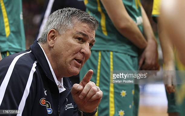 Opals coach Brendan Joyce speaks to his players during the Women's FIBA Oceania Championship match between the Australian Opals and the New Zealand...