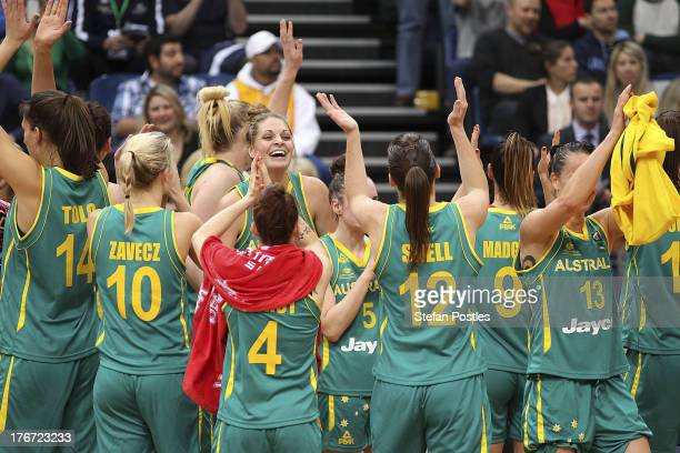 Opals players celebrate after winning the Women's FIBA Oceania Championship match between the Australian Opals and the New Zealand Tall Ferns at AIS...