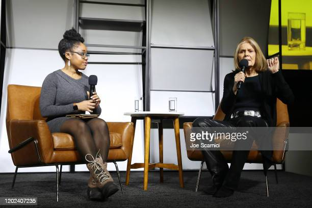 Op-ed Writer, and Editor for The New York Times, Aisha Harris and Writer, Political Activist and Feminist organizer, Gloria Steinem speak onstage...