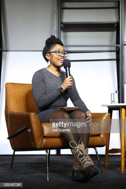 Op-ed Writer, and Editor for The New York Times, Aisha Harris speaks onstage during the 2020 Women at Sundance Celebration hosted by Sundance...