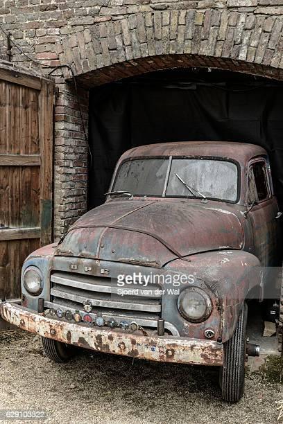 "opel blitz truck barnfind - ""sjoerd van der wal"" stock pictures, royalty-free photos & images"