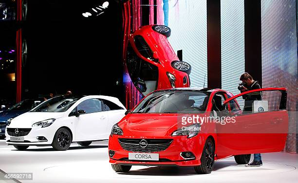 Opel Corsa are presented during the second press day of the Paris Motor Show on October 03 in Paris France The Paris Motor Show will showcase the...