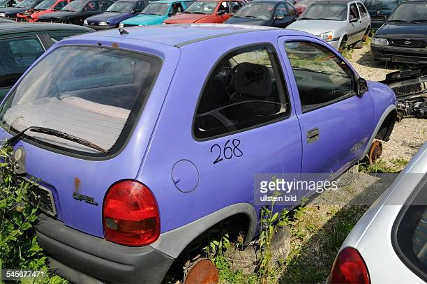 Opel Corsa car on the junk yard