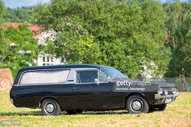 opel rekord c series hearse car - hearse stock photos and pictures