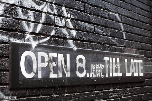 Open 8am Till Late sign