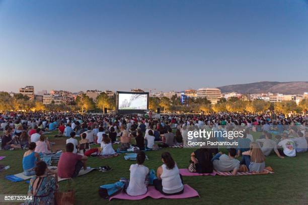 open air cinema - outdoors stock pictures, royalty-free photos & images