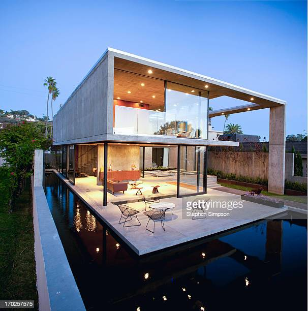 open, airy, Modernist home after sunset