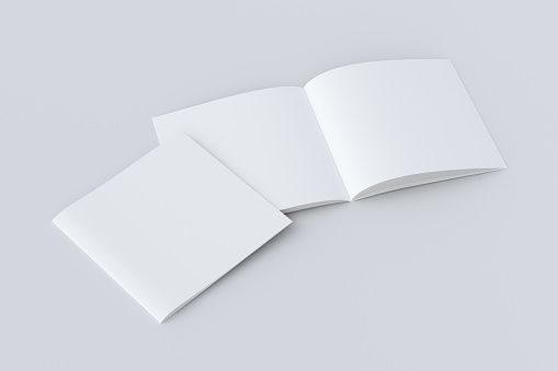 Open and closed  blank booklet 1077852310