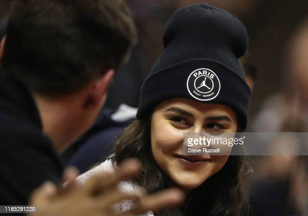 Open and Rogers Cup tennis champion Bianca Andreescu sits courtside as the Toronto Raptors beat the Charlotte Hornets 13296 at Scotiabank Arena in...