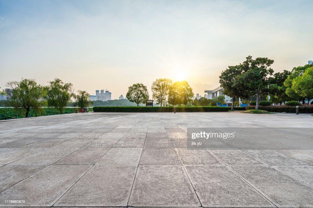 open area against sunset sky : Stock Photo