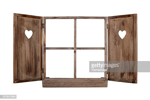 open bavarian window frame isolated - window frame stock pictures, royalty-free photos & images