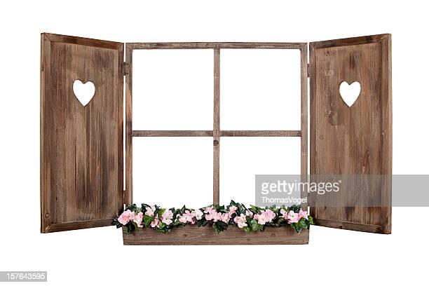 Bayerische Fenster frame isoliert geöffnet