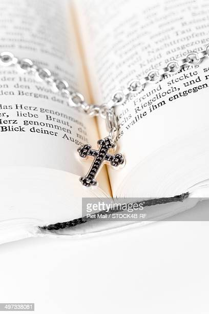 Open bible an necklace with crucifix