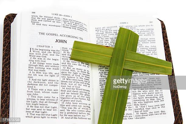 Open Bible with Palm Leaf Cross