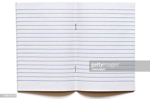 öffnen sie leeren notizbuch auf weißem hintergrund - schulheft stock-fotos und bilder
